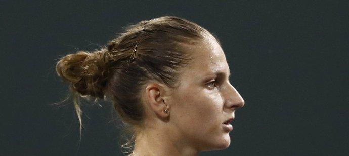 Karolína Plíšková se raduje ve čtvrtfinále turnaje v Indian Wells
