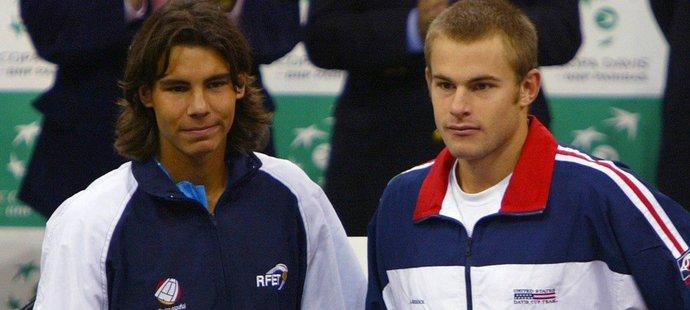 Rafael Nadal a Andy Roddick po finále Davis Cupu v roce 2004