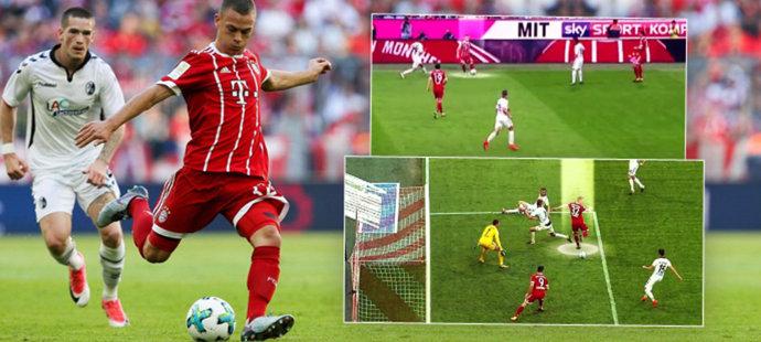 Jak dal bek Bayernu gól patou? Běžel 74 metrů a třikrát si narazil