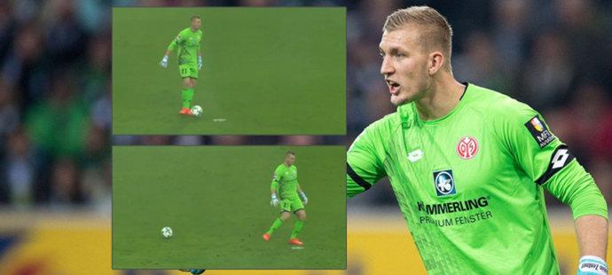 Němci umírají smíchy: Brankář Mainzu ztratil míč a kopal do puntíku