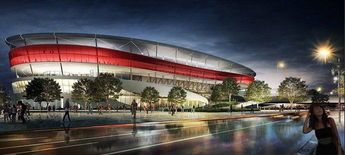 Projekt belgického stadionu Eurostadium, jehož výstavba se protahuje