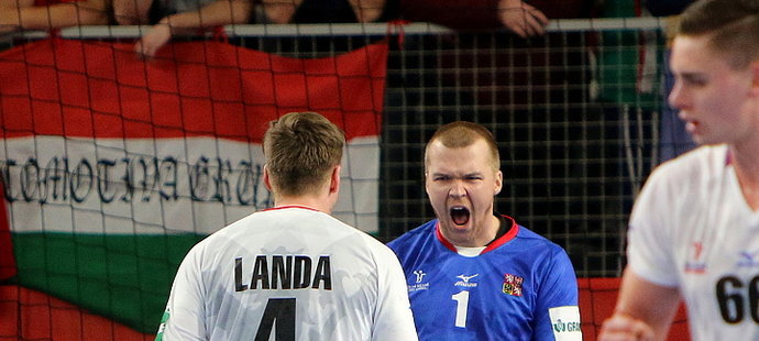 Český brankář Tomáš Mrkva se raduje po úspěšném zásahu v zápase proti Maďarsku