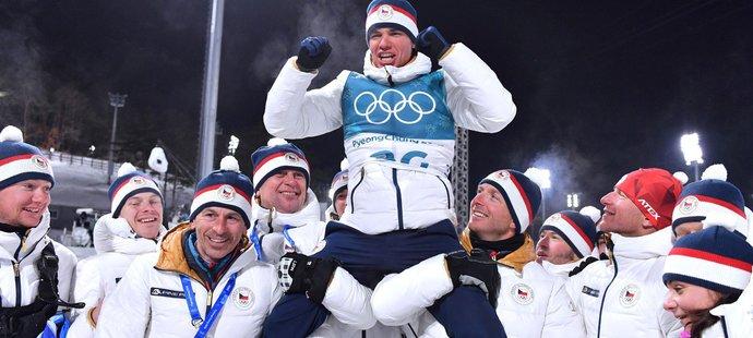 Český biatlon slaví úspěch Michala Krčmáře