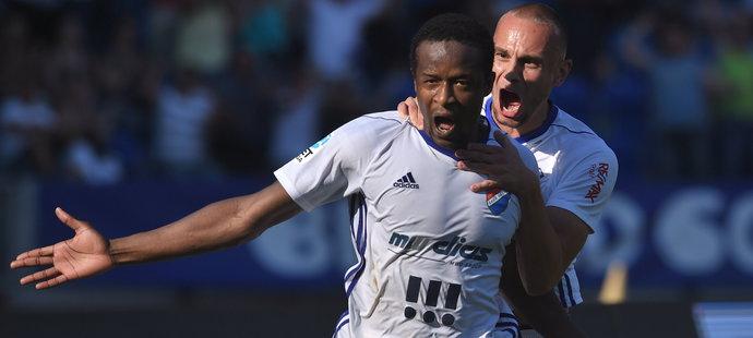 Dame Diop z Baníku se raduje z prvního gólu proti Brnu