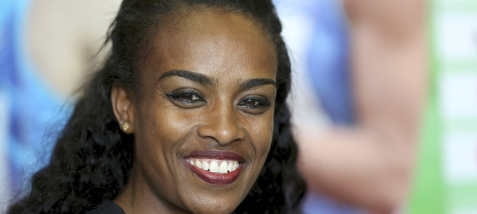 Etiopská běžkyně Genzebe Dibabaová  na tiskové konferenci před atletickým mítinkem Zlatá tretra