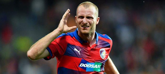Gólová radost hrdiny prvního poločasu zápasu Plzně proti CSKA Michaela Krmenčíka