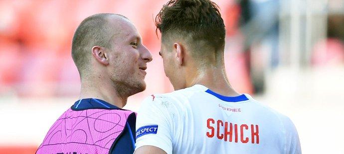 Oba střelci zápasu se Slovenskem, vlevo Michael Krmenčík a vpravo Patrik Schick