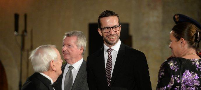 Český tenista Radek Štěpánek během předávání státního vyznamenání na Pražském hradě