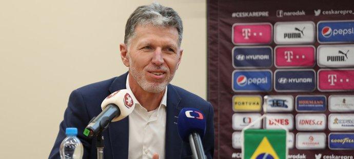 Kouč české reprezentace Jaroslav Šilhavý na tiskové konferenci promluvil i o přípravném utkání s Brazílií