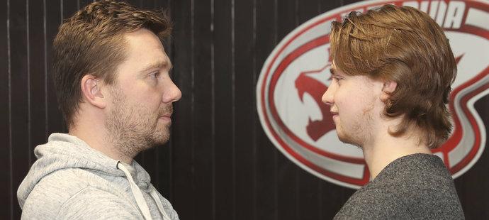Legenda hokejové Slavie Roman Málek se synem