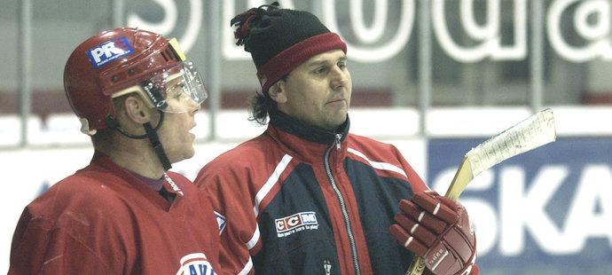 Radek Duda s Vladimírem Růžičkou na tréninku Slavie v roce 2003