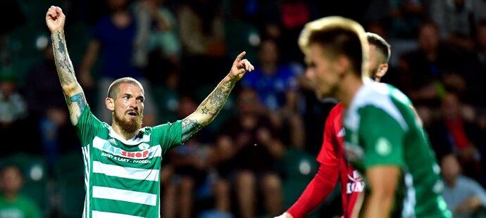 David Bartek oslavuje třetí gól Bohemians v zápase se Sigmou
