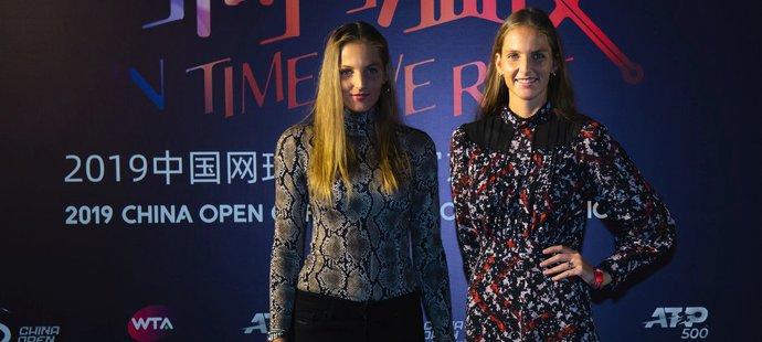 Sestry Plíškovy na mejdanu hráčů v rámci turnaje v Pekingu