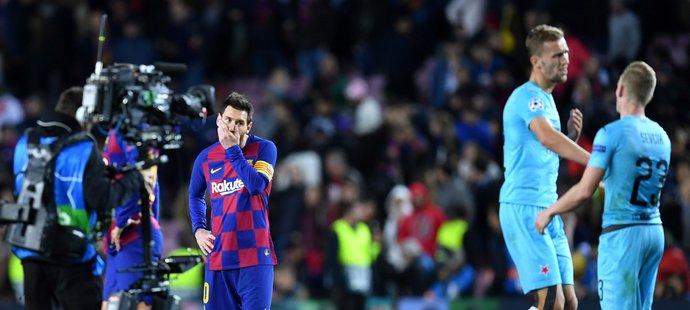 Konec utkání Barcelony se Slavií, které skončilo remízou 0:0