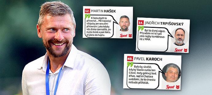 Projděte si žebříček nejlepších fotbalových výroků roku. Kraloval Martin Hašek.