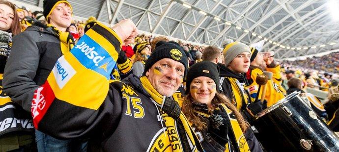 Fanoušci Litvínova na utkání pod širým nebem v Drážďanech proti Spartě