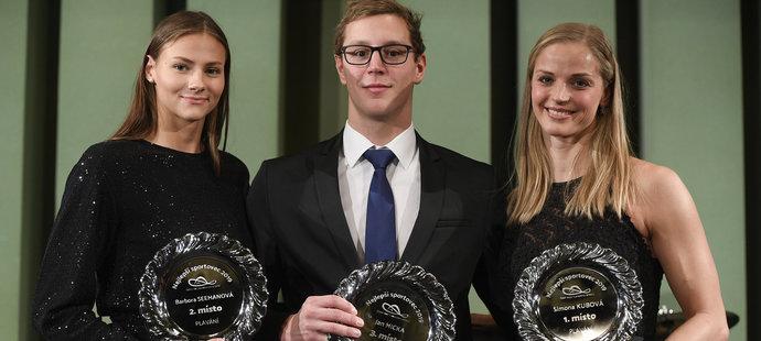 Barbora Seemanová, Jan Micka a Simona Kubová, nejlepší plavci roku