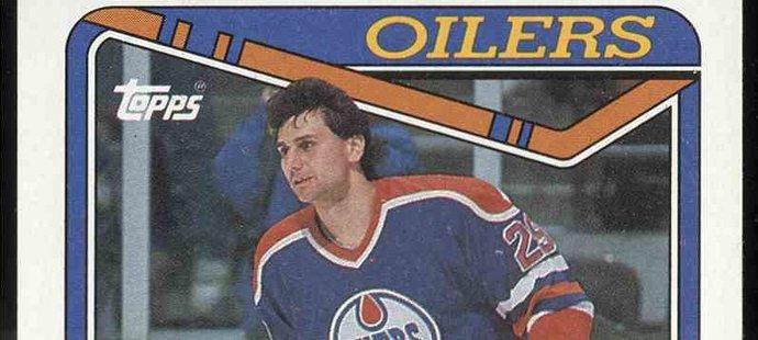 Vzácná kartička - Vladimír Růžička ještě jako útočník hokejového Edmontonu Oiliers