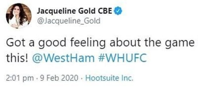Tenhle tweet se Jacqueline Goldové, dceři majitele West Hamu, zrovna nepovedl