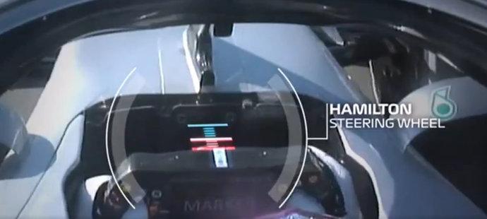 Na snímku je graficky znázorněno, o kolik mohou závodníci Mercedesu v této sezoně přitáhnout volant k sobě. Vše je důsledkem práce na novém systému DAS.