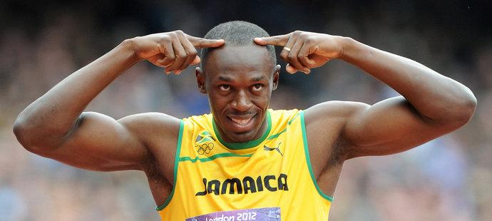 Sprinter a showman Usain Bolt a jedno z jeho gest