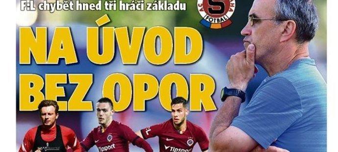 Titulní strana deníku Sport, na kterou narážel Kotal
