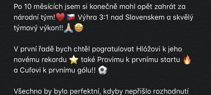 Reakce Alexe Krále na Instagramu na ukončení reprezentačního srazu