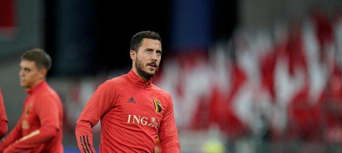 Belgická hvězda Eden Hazard na srazu belgické reprezentace, kde nezasáhl do zápasu v Dánsku ani proti Islandu
