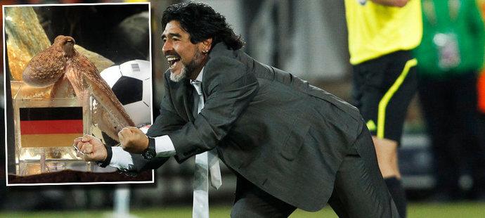 """""""Jsem rád, že jsi mrtvý,"""" vzkázal chobotnici Paulovi legendární Diego Maradona"""