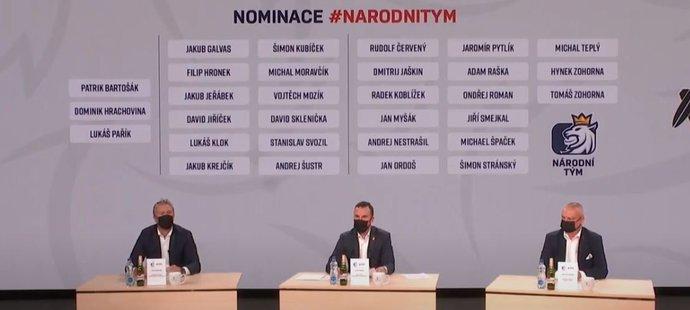 Trenér hokejové reprezentace Filip Pešán (uprostřed) představil nominaci na premiérovou akci na střídačce národního týmu