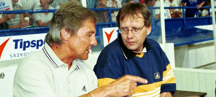 Richard Farda s bavičem Josefem Náhlovským při zápase Jágr Teamu