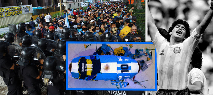 Šílené scény u rakve s Maradonou. Slzy, až milion lidí a zavřený hřbitov