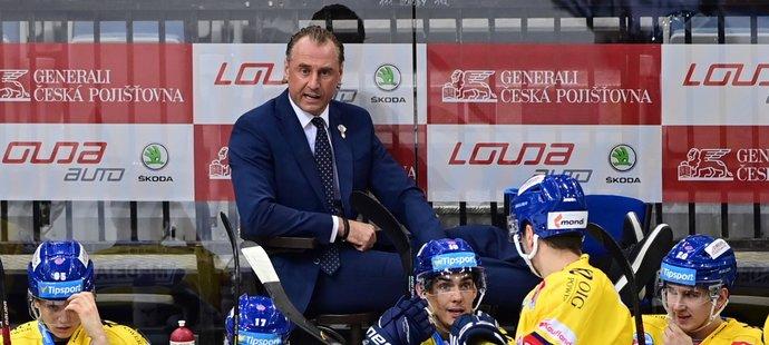 Trenér Václav Prospal na střídačce Českých Budějovic