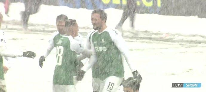 VIDEO: Jablonec - Příbram 2:1. Bitvu na sněhu otočil dvěma góly Kratochvíl