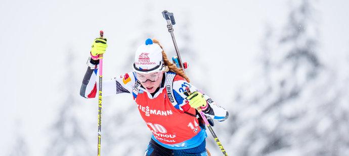 Markéta Davidová během závodu s hromadným startem v Anterselvě