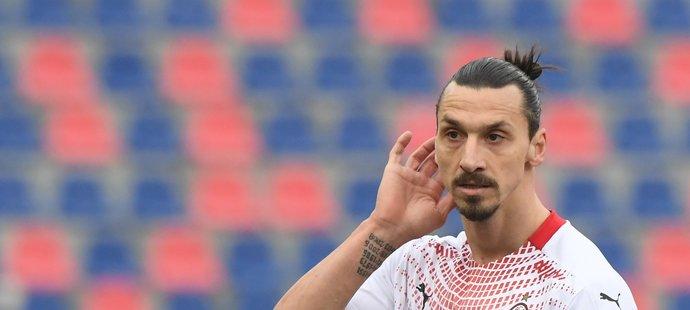 Švédský útočník Zlatan Ibrahimovic v dresu AC Milán