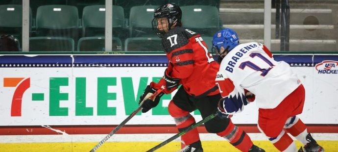 Utkání české hokejové osmnáctky, která ve čtvrtfinále mistroství světa podlehla Kanadě vysoko 3:10