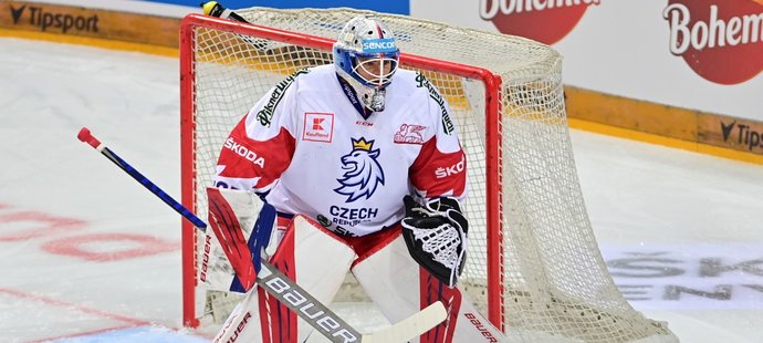Gólman české hokejové reprezentace Roman Will v utkání proti Slovensku