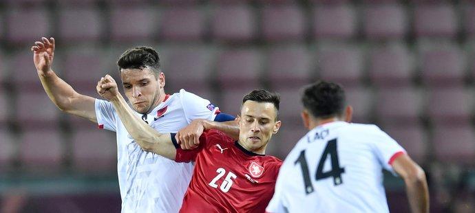 Jakub Pešek v reprezentačním dresu v utkání proti Albánii