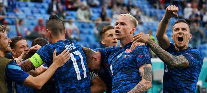 Obrovská slovenská radost po trefě na 1:1