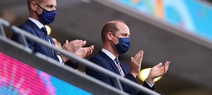 Princ William na utkání Anglie versus Česko.