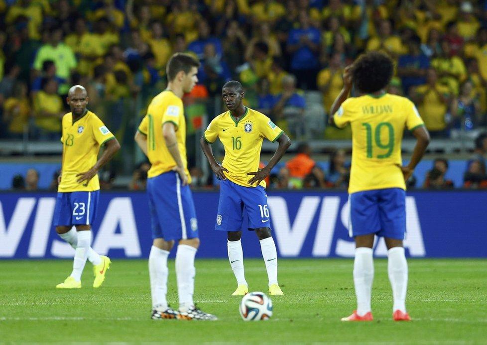 Hráči Brazílie byli vývojem zápasu pochopitelně šokováni