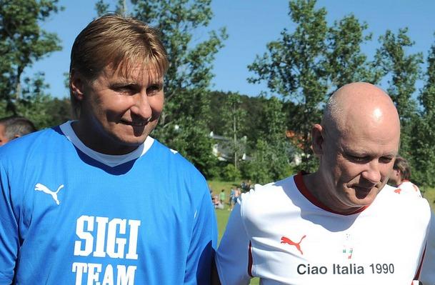 Horst Siegl a Ivan Hašek při exhibičním zápase