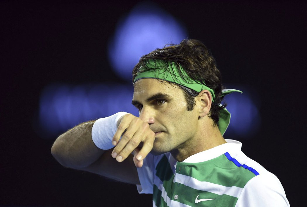 Roger Federer během semifinále Australian Open
