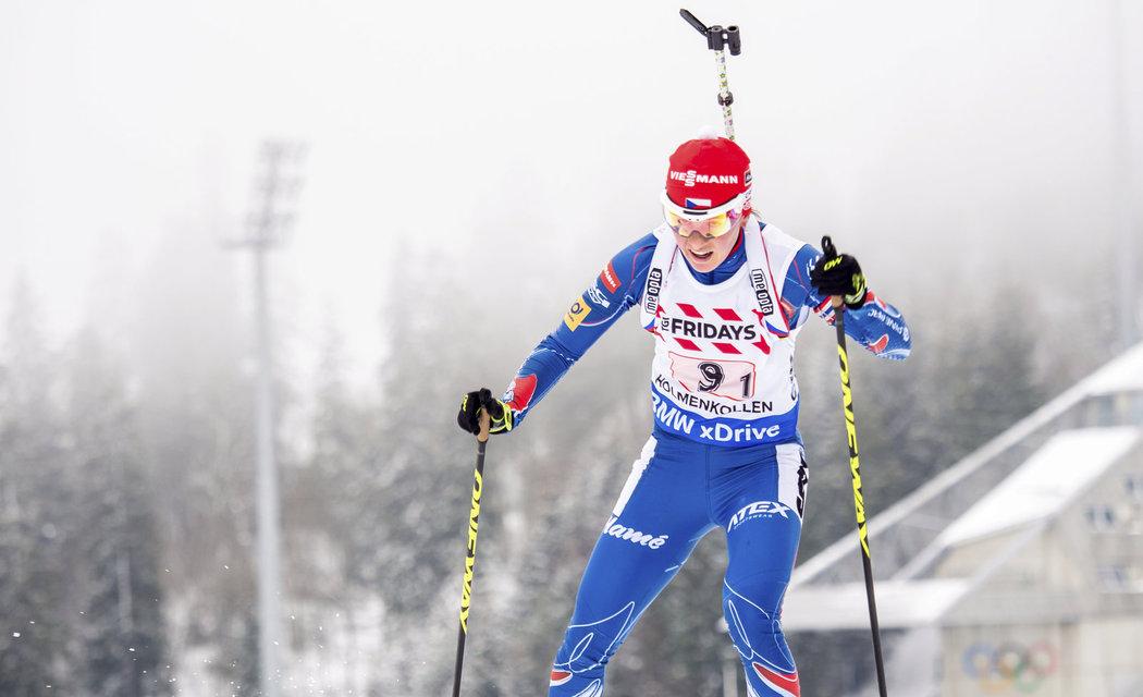 Veronika Vítková ve smíšené štafetě na MS biatlonistů v Oslu