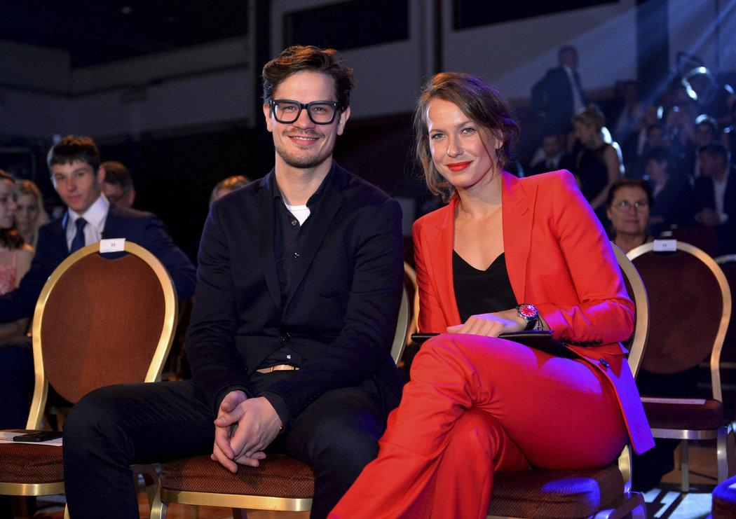 Barbora Strýcová s partnerem Davidem Krausem na vyhlášení ankety Sportovec roku