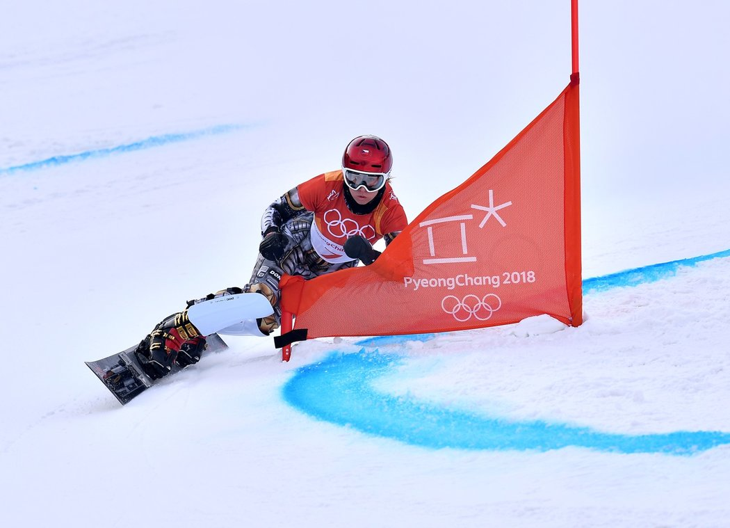Ester Ledecká v kvalifikační jízdě, kterou zajela nejrychleji ze všech
