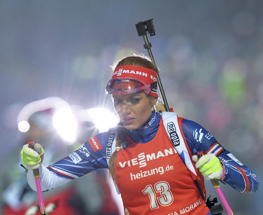 Gabriela Koukalová při závodě Světového poháru v Novém Městě na Moravě v roce 2016