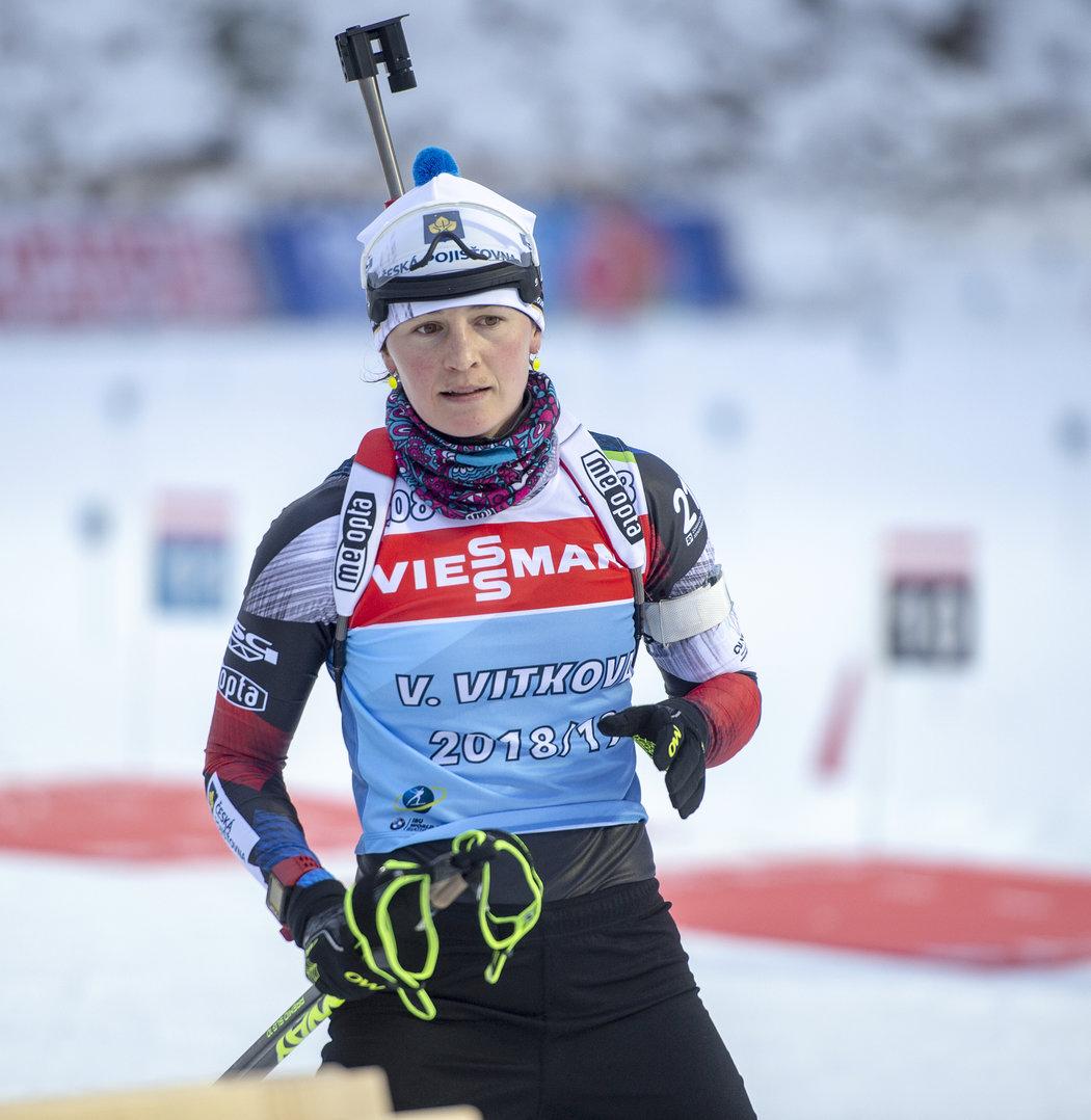 Veronika Vítková na tréninku v Novém Městě na Moravě