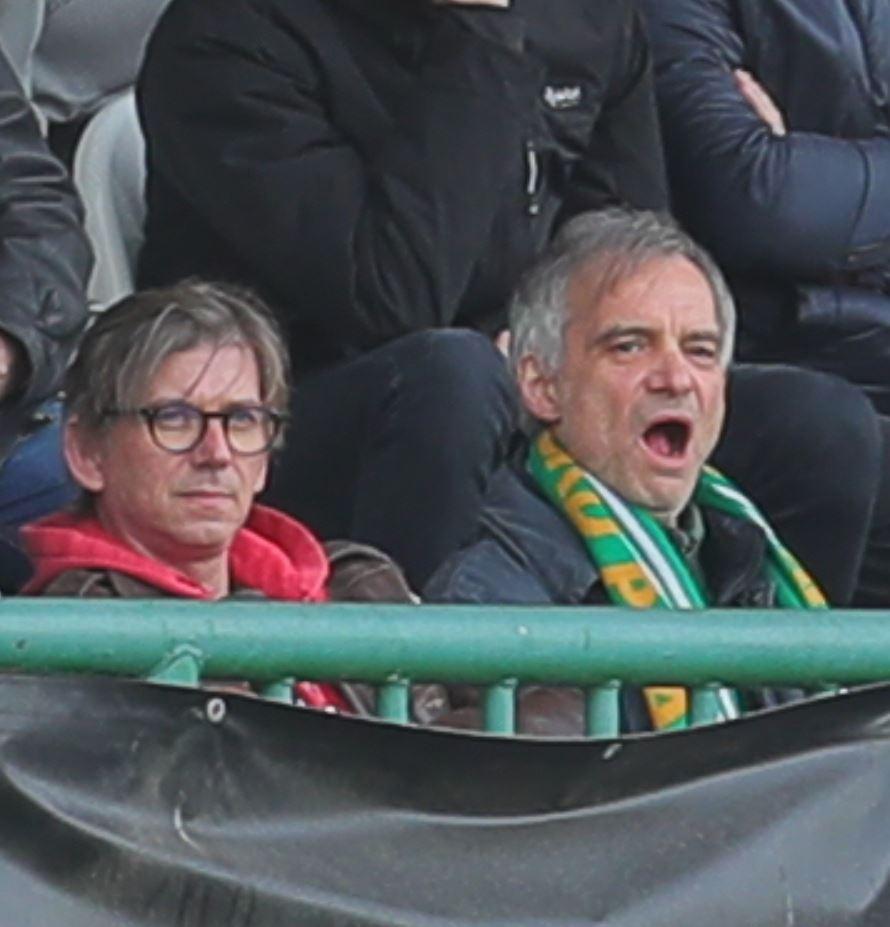 Slávista Jiří Strach (vlevo) vyrazil na vršovické derby s kamarádem a fanouškem Bohemians Ivanem Trojanem
